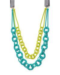 Trina Turk Green Two-tone Mesh Statement Necklace