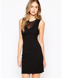 SELECTED - Blue Sleeveless Dress With Mesh Inserts - Lyst
