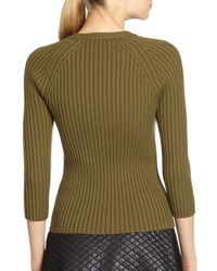Michael Kors - Green Merino Wool Raglan Zipper Sweater - Lyst
