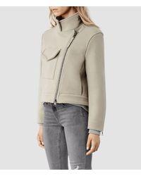 AllSaints Gray Suki Cropped M65 Jacket