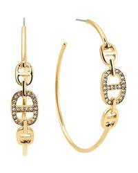 Michael Kors   Metallic Pavé Graduated 3-link Hoop Earrings   Lyst