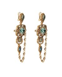 Oscar de la Renta | Metallic Goldplated Crystal Earrings | Lyst