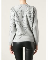 Jean Paul Gaultier Gray Embroidered Face Sweatshirt