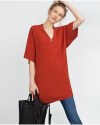 Zara | Brown V-neck Tunic | Lyst