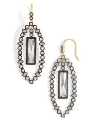 Freida Rothman | Metallic 'metropolitan' Marquise Drop Earrings - Gunmetal/ Clear | Lyst