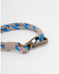 ASOS | Rope Bracelet In Blue for Men | Lyst
