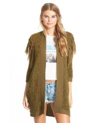 Volcom Green 'black Sheep' Open Cardigan