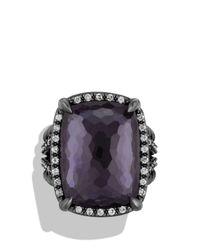 David Yurman - Purple Chã¢telaine Ring With Black Orchid And Gray Diamonds - Lyst
