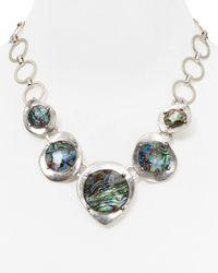 "Robert Lee Morris | Metallic Stone Frontal Necklace, 19"" | Lyst"