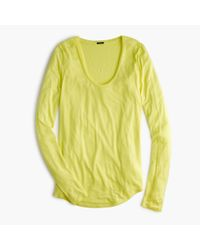 J.Crew | Green Drapey Long-sleeve Scoopneck T-shirt | Lyst