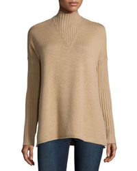 Tory Burch | Natural Mock-neck Long-sleeve Oversize Sweater | Lyst
