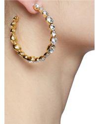 Kenneth Jay Lane Metallic Crystal Embellished Hoop Earrings