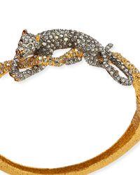 Alexis Bittar Metallic Crystal Resting Panther Hinge Bracelet
