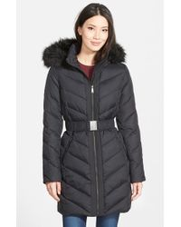DKNY | Black Down & Feather Fill Coat With Faux Fur Trim | Lyst