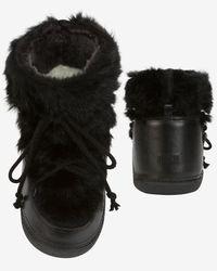 Ikkii | Black Lace-Up Rabbit-Fur Snow Boots | Lyst