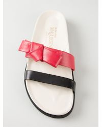 Alexander McQueen Black Bow-Detail Calf-Leather Sandals