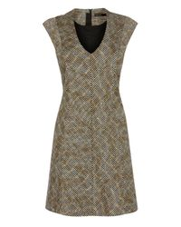 Karen Millen | Metallic Tweed V-neck Dress | Lyst