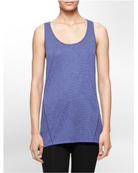 Calvin Klein | Blue Performance Mesh High Low Tank Top | Lyst