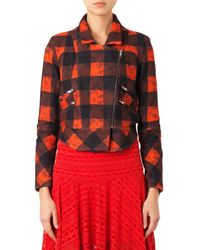 Preen Line Red Ritchie Shearling-trimmed Biker Jacket