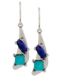 Kenneth Cole | Metallic Silver-tone Geometric Faceted Stone Drop Earrings | Lyst