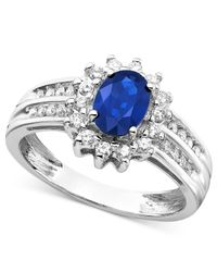 Macy's | Gray Sapphire (1 Ct. T.w.) And Diamond (1/3 Ct. T.w.) Ring In 14k White Gold | Lyst