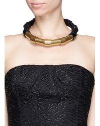Lanvin Metallic Brass Tube Choker Necklace