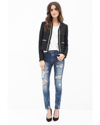 Forever 21 - Black Contemporary Collarless Beaded Tweed Jacket - Lyst