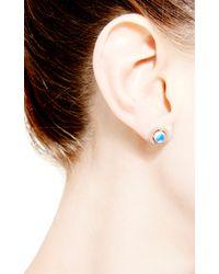 Dana Rebecca - Blue Emma Harper Round Earrings in 14k Rose Gold - Lyst
