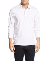 Vineyard Vines | White 'mallery' Long Sleeve Pima Cotton Jersey Polo for Men | Lyst