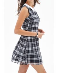 Forever 21 - Gray Madras Plaid Woven Dress - Lyst