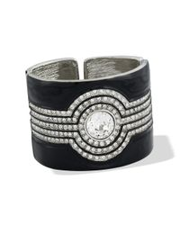 Kenneth Jay Lane | Black And Crystal Art Deco Cuff | Lyst
