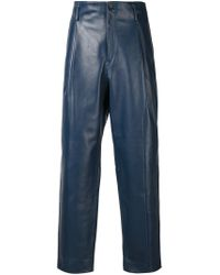 Y. Project | Blue Leather Pants for Men | Lyst