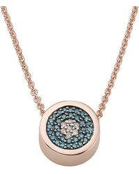 Monica Vinader | Pink Evil Eye 18Ct Rose Gold-Plated And Pavé Diamond Necklace - For Women | Lyst