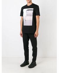 Neil Barrett Black Portrait-Print Cotton T-Shirt for men