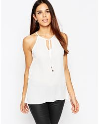 ASOS | High Neck Cami With Keyhole And Tie Front - White | Lyst