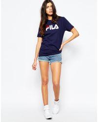 Fila Blue Oversized Boyfriend T-shirt With Front Logo