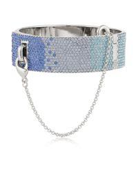 Eddie Borgo Blue Silvertone Crystal Cuff