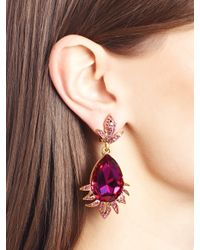 Oscar de la Renta | Red Swarovski Crystal Teardrop Earrings | Lyst