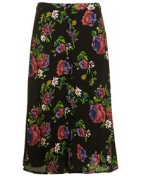 TOPSHOP Black Watercolour Rose Midi Skirt