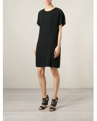N°21 - Black Embroidered Shift Dress - Lyst
