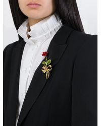 Dolce & Gabbana | Metallic Rose Brooch | Lyst