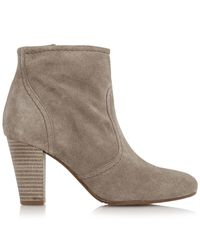 Dune Brown Portia Stacked Heel Ankle Boot