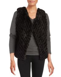 BB Dakota Black Keith Textured Faux Fur Vest
