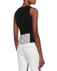 Tibi - Black Sleeveless Tweed Colorblock Top - Lyst