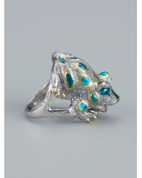 Delfina Delettrez | Blue Chunky Frog Ring | Lyst