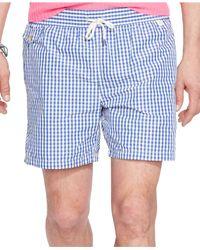 Polo Ralph Lauren Blue Traveler Gingham Swim Short for men