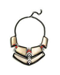 Alexis Bittar Gray Cubist Baguette Barrel Bib Necklace