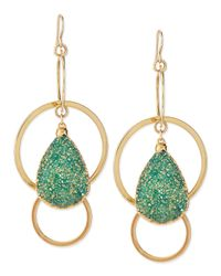 Devon Leigh | Green 24K Gold-Plate Druzy-Drop Hoop Earrings | Lyst
