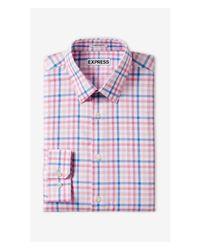 Express Pink Slim Check Dress Shirt for men