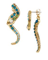 Betsey Johnson | Blue Gold-tone Pave Crystal Snake Front And Back Earrings | Lyst